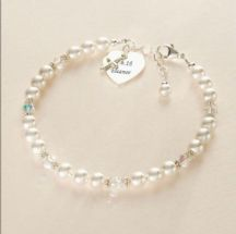 Cross and Heart Personalised Pearl Bracelet